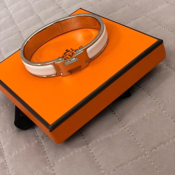 Hermes Jewelry   Clic H Bracelet White   Poshmark 10692938aee